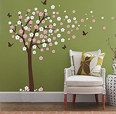 Huge Cherry Blossom Tree Blowing in the Wind Wall Decals Nursery Tree Flowers Butterfly Art Baby Kids Room Wall Sticker Wall Decor, 78''H X 74.8'' W
