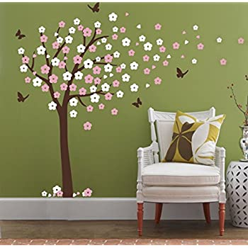 Huge Cherry Blossom Tree Blowing In The Wind Wall Decals Nursery Tree  Flowers Butterfly Art Baby Part 35