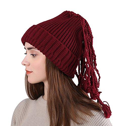 (TWGONE Womens Slouchy Beanie Winter Hat Knit Warm Snow Ski Skull Cap Wool Solid Manual Braid Beanie Crochet Cap(One Size,Wine Red))