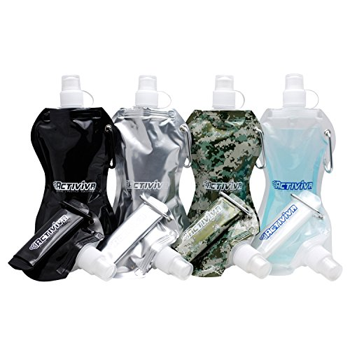 Collapsible Reusable Water Bottle with Carabiner Clip by Activiva - Light Weight Leak Proof Foldable Drinking Water Bottle - Non-Toxic BPA Free - 16.9 oz - Wave 4 Pc Pack (Black, Silver, Camo, Clear) (Water Collapsible Bottles)