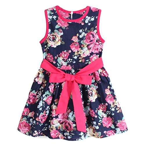 Lanpan Girls Flower Princess Party Skirts Kids Formal Sleeveless Floral Dress (3-4Y, Blue) ()