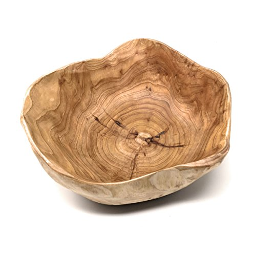 (THY COLLECTIBLES Wooden Bowl Handmade Storage Natural Root Wood Crafts Bowl Fruit Salad Serving Bowls (Small 8