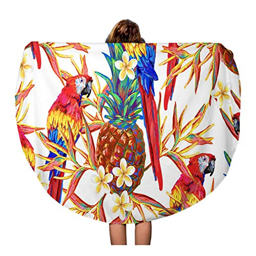 - Semtomn 60 Inches Round Beach Towel Blanket Animal Summer Jungle Pattern Parrot Tropical Flowers and Pineapple Travel Circle Circular Towels Mat Tapestry Beach Throw