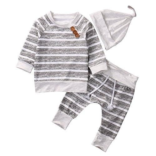 Price comparison product image Okgirl Baby newborn infant Boy Girl 3pcs Set Outfit Striped T-shirt+Striped Long Pants+Hat 6-12 Months