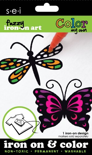 - SEI 3.35-Inch by 5-Inch Butterfly/Dragonfly Color My Own Iron on Transfer, 1 Sheet