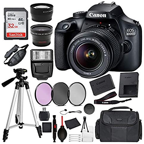 "- 51A 2BJRVlo1L - Canon EOS 4000D (Rebel T100) Digital SLR Camera w/ 18-55MM DC III Lens Kit (Black) with Essential Accessory Bundle Package Deal Includes: SanDisk 32gb Card + DSLR Bag + 50"" Tripod + More"