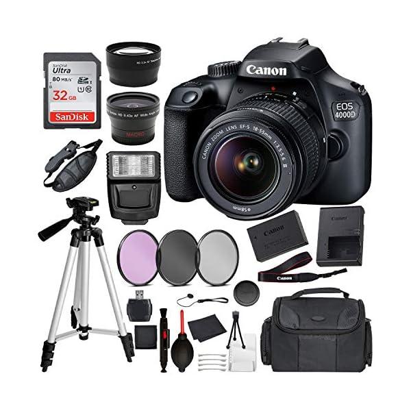 Canon EOS 4000D (Rebel T100) Digital SLR Camera w/ 18-55MM DC III Lens Kit (Black)...