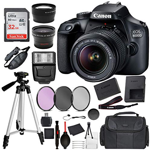 Canon EOS 4000D (Rebel T100) Digital SLR Camera w/ 18-55MM DC III Lens Kit (Black) with Essential Accessory Bundle Package Deal Includes: SanDisk 32gb Card + DSLR Bag + 50'' Tripod + More