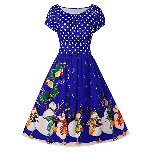 Chaofanjiancai Women's Cute Vintage Plus Size Penguin Dot Print Christmas Crew Neck Cap Sleeve Party ()