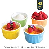 Uno Casa Colorful Ramekins in Ceramic - Package Qty of 10 includes 10 Complete Sets or 40 Ramekins - Multi 10-Pack Offer