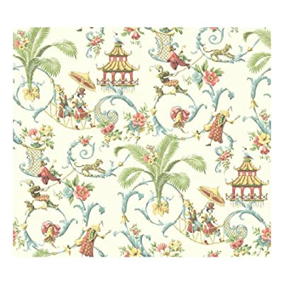 York Wallcoverings WA7771 Waverly Classics Mandarin Prose Wallpaper, Cream/Wedgwood blue/Coral/Amber/Sage