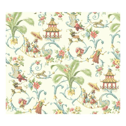 Oriental Floral Wallpaper (York Wallcoverings WA7771 Waverly Classics Mandarin Prose Wallpaper, Cream/Wedgwood blue/Coral/Amber/Sage)