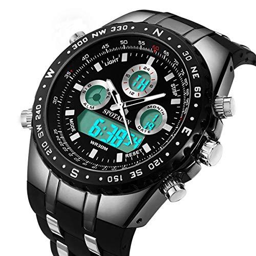 Relojes deportivos decentes para hombres Reloj militar multifuncional de gran tamaño en banda de silicona negra