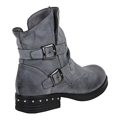 Stiefelparadies Damen Biker Boots Leder-Optik Stiefeletten Warm Gefütterte Booties Blockabsatz Winter Schuhe Winterboots Zipper Snake Print Flandell Grau Schnallen