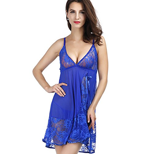 SODIAL Women 1 sets of Sexy lingerie lace roses bow perspective pajamas Thong suit Dark Blue XL