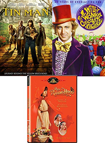 Family Fun Movie Pack Willy Wonka & The Chocolate Factory Original Musical + Red Riding Hood Fairy Tale & Tin Man New Age Oz DVD Adventures ()