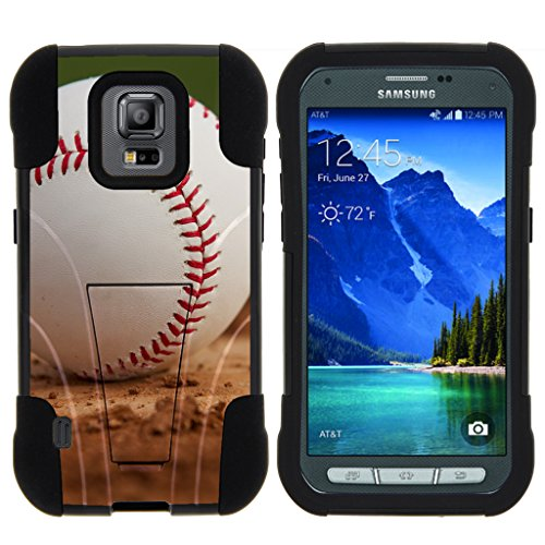 TurtleArmor | Samsung Galaxy S5 Active Case | G870 [Gel Max] Hybrid Impact Proof Kickstand Case Silicone Hard Dual Cover Sports and Games Design - Baseball Dirt