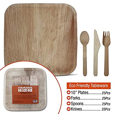 Compostable Plates 10 inch with Eco Friendly Compostable Forks, Knives and Spoons - 10 inch palm leaf plates, sustainable wooden forks, knives, and spoons - 25 sets