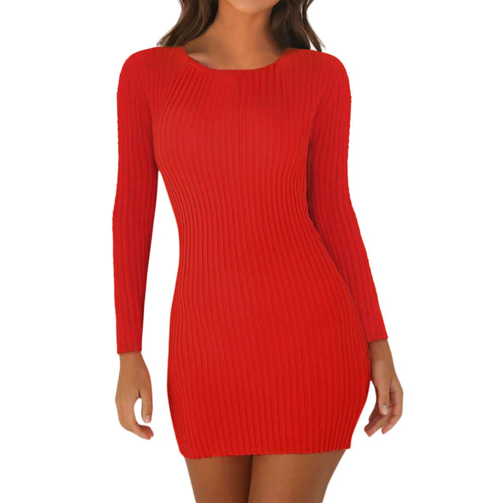 Ladies Women Long Sleeve Striped Stretch Bodycon Bandage Midi Shirt Jumper Dress