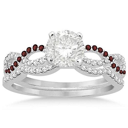 Infinity Twist Diamond and Garnet Engagement Ring and Diamond Contour Wedding Band Platinum (0.34ct) -