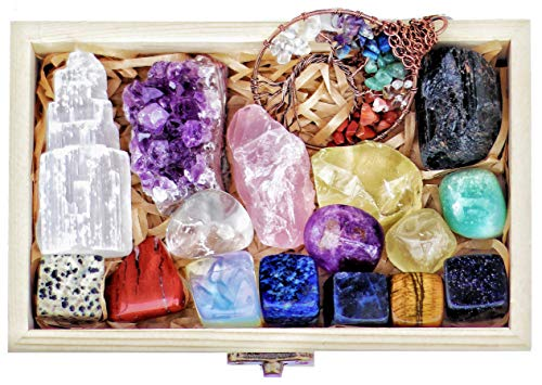 16 Natural Healing Crystals Set in Wooden Box – Tumbled Gemstones, Rough & Raw, Including Selenite Tower, Raw Black…