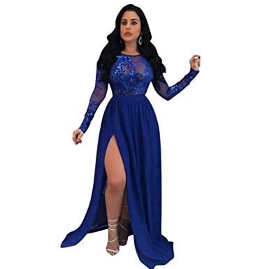 78f504f49db Romacci Sexy Womens Long Maxi Dress Sequin Sheer Mesh Split Backless Long  Sleeve Nightclub Party Dress