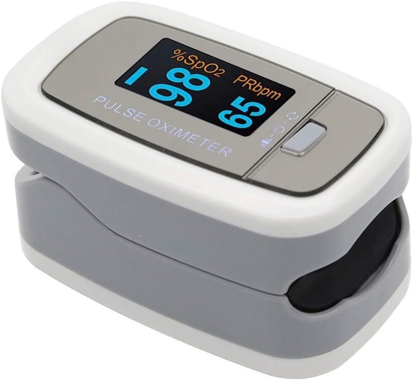 Oxímetro de Pulso para Dedo, Pulsioxímetro de Dedo con Auto-Sleep Mode, 4 Dirección Pantalla OLED, Lecturas Rápidas para Adultos, Niños, Deportes Uso
