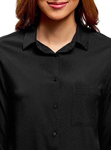 2900n sur Chemisier Droit Poitrine oodji Poche Femme Noir Ultra qHUwnXp8