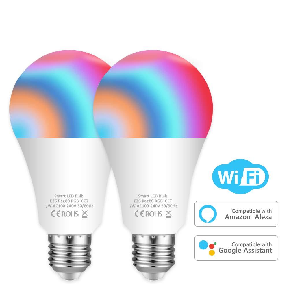 Aovikey スマート電球 WiFi LED電球 E26 A19 7W 750LM マルチカラー RGB-CCT 色が変わるスマート電球 Amazon AlexaとGoogle Homeに対応 ハブ不要 60W相当 2個パック B07N2KDPBV
