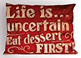 Ambesonne Vintage Pillow Sham, Retro Classic Design for Restaurant and Food Symbols Signs Funny Diner Supper, Decorative Standard Size Printed Pillowcase, 26 X 20 inches, Red and Cream