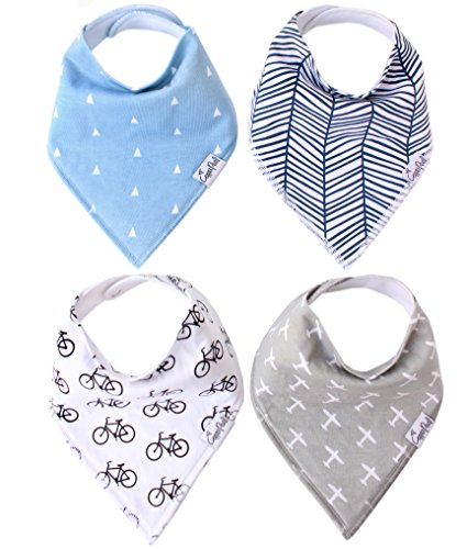 "Baby Bandana Drool Bibs for Drooling and Teething 4 Pack Gift Set For Boys ""Cruise Set"" by Copper Pearl"