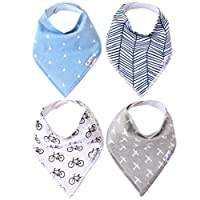 """Baby Bandana Drool Bibs for Drooling and Teething 4 Pack Gift Set For Boys """"C..."""