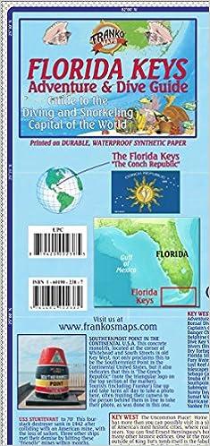 Map Of The Keys In Florida.Florida Keys Adventure Dive Guide Franko Maps Waterproof Map