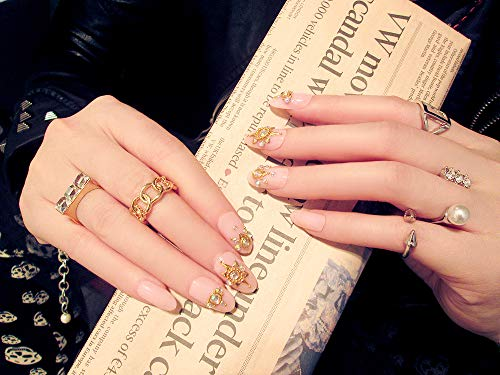 (Fake Nails With Glue Medium Length Pearl Flash Diamond Diy Nail Art Bride Wear Accessory 24 PCS Tips Pink Press On Nails D15)