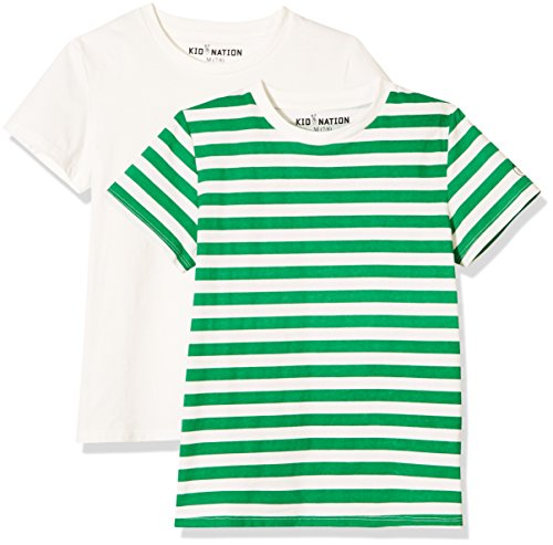 Kid Nation Kids' 2-Pack Short-Sleeve Crew-Neck T-Shirt for Boys or Girls XS White+White/Green