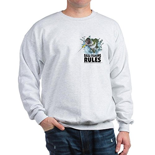 CafePress Bass Fishing Rules.Strike! Sweatshirt Classic Crew Neck Sweatshirt Ash Grey
