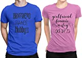 Hubby Wifey Couple Newly Married Couple Matching T-shirt Honeymoon valentines Men Medium / Women Medium | Royal Blue - Pink