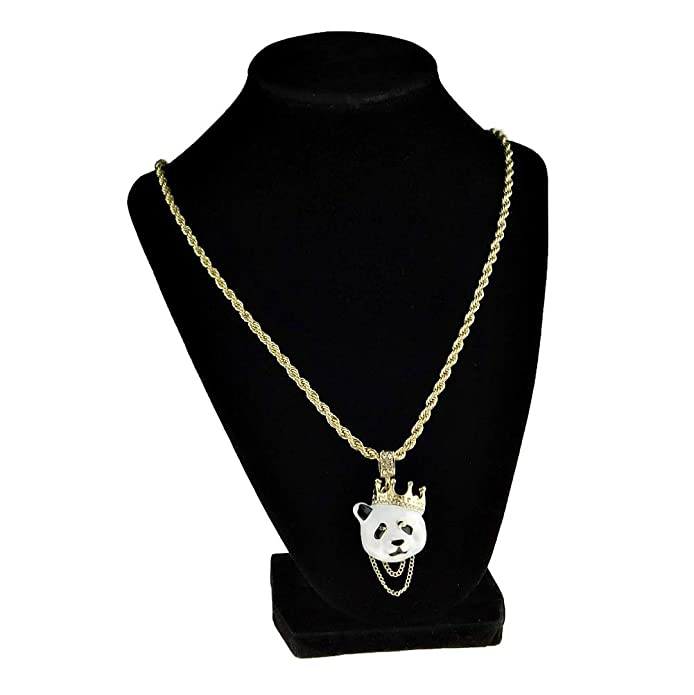 Amazon.com: Crown Panda Rope Chain White Bear Bling Pendant ...