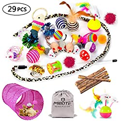 MIBOTE 29Pcs Cat Toys Kitten Toys Assortments, Cat Tunnel Feather Teaser Wand Fish Fluffy Mouse Mice Balls and Bells Toys for Cat Puppy Kitty with Storage Bag