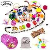 MIBOTE 29 Pcs Cat Toys Kitten Toys Assortments, Cat Tunnel Feather Teaser Wand Fish Fluffy Mouse Mice Balls and Bells Toys for Cat Puppy Kitty with Storage Bag Larger Image