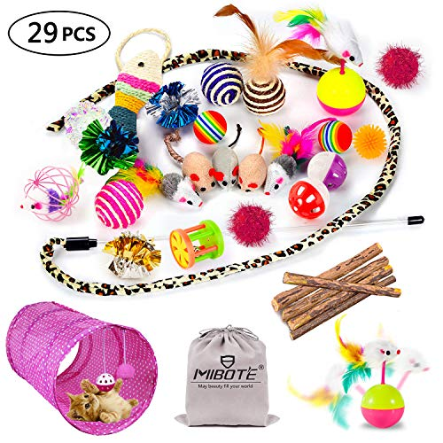 - MIBOTE 29Pcs Cat Toys Kitten Toys Assortments, Cat Tunnel Feather Teaser Wand Fish Fluffy Mouse Mice Balls and Bells Toys for Cat Puppy Kitty with Storage Bag