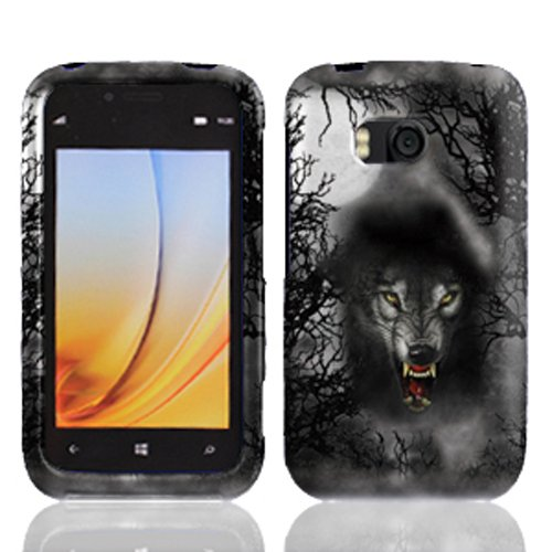 LF Wolf Designer Hard Case Cover, Lf Stylus Pen & Wiper Bundle for Verizon Nokia Lumia 822 (Wolf)