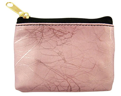(WJH Marble Pattern Leather Zipper Rosary Pouch, 3 1/2 Inch (Pink))
