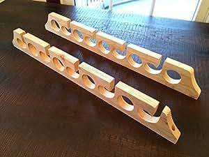 Solid wood horizontal 9 space fishing rod for Amazon fishing rod holders