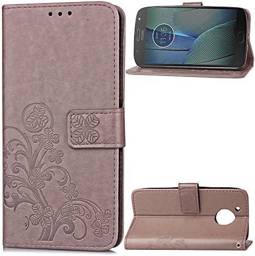 Lomogo Motorola Moto G5S Plus ケース 手帳型 耐衝撃 レザーケース 財布型 カードポケット スタンド機能 マグネット式 モトローラG5SPlus 手帳型ケース カバー 人気 - LOSDA041230 グレー