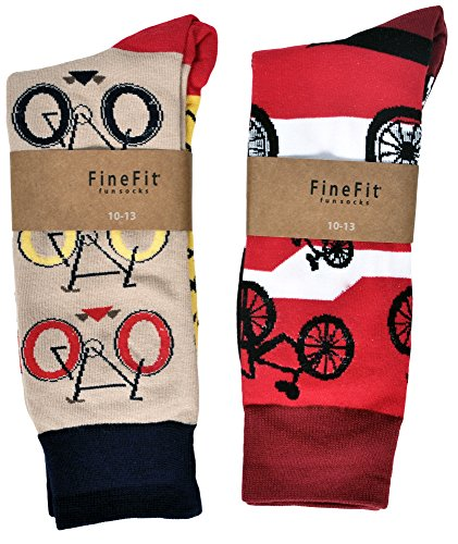 fine-fit-mens-novelty-trouser-socks-2-pair-set-choose-prints-bicycles-red