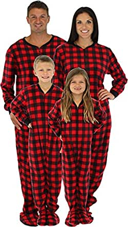 SleepytimePjs Family Matching Red Plaid Fleece Footed Pajamas (STM17-PLA-K-3T)