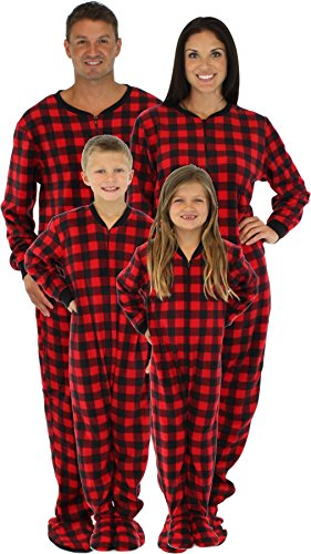 Sleepytime Pjs Family Matching Red Plaid Footed Pajamas (STM17-PLA-K-6) (Family Pajamas Holiday)
