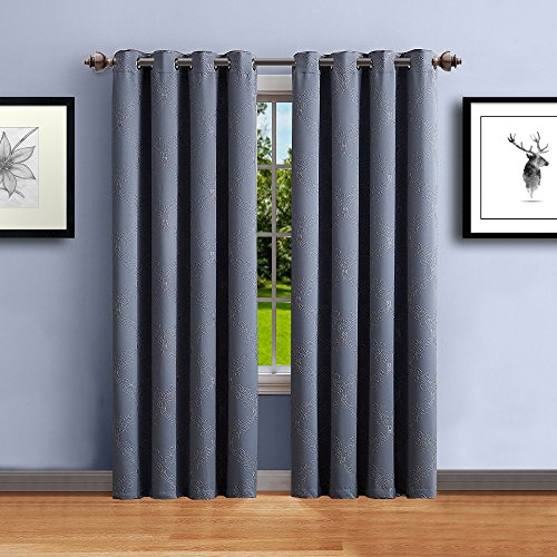"Warm Home Designs 1 Panel of Long Length 54"" x 96"" Silver Gray Textured Blackout Curtains with Beige Embroidered Pattern. Block Sun Rays & Reduce Outside Noise. C Grey 96"