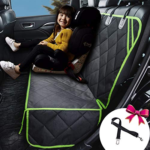 Petalage Bench Car Seat Cover for Dog Seat Cover Waterproof Non Slip Dog Seat Protector Hammock for Back Seat for Kids Compatible for Middle Seat Belt and Armrest Fits Most Cars, Trucks, SUVs (HYSC4)
